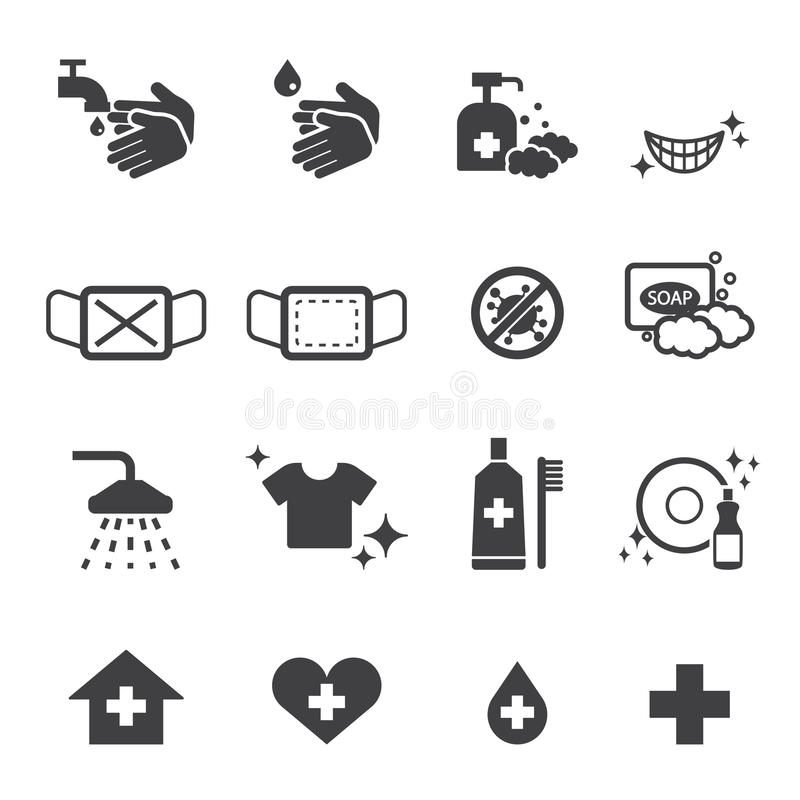 Iconos de la higiene fijados libre illustration
