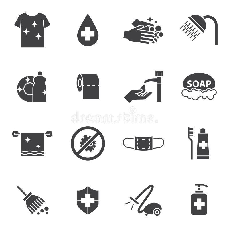 Iconos de la higiene y de la limpieza fijados stock de ilustración