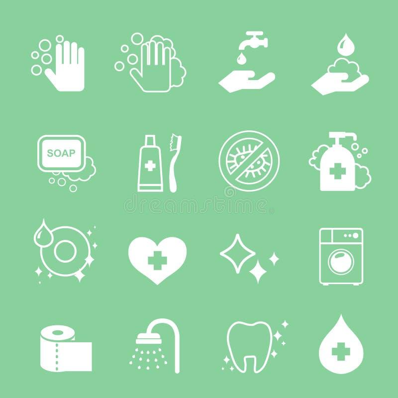 Iconos de la higiene y de la limpieza fijados Lavado a mano, jabón stock de ilustración