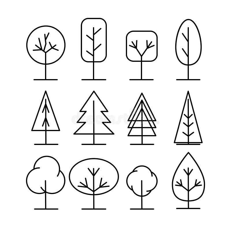 Iconos de la hilera de árboles fijados Ejemplos finos simples del vector del estilo ilustración del vector