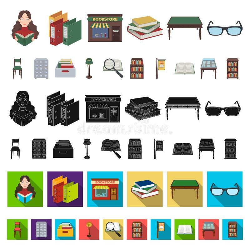 Iconos de la historieta de la biblioteca y de la librería en la colección del sistema para el diseño Libros y web de la acción de ilustración del vector