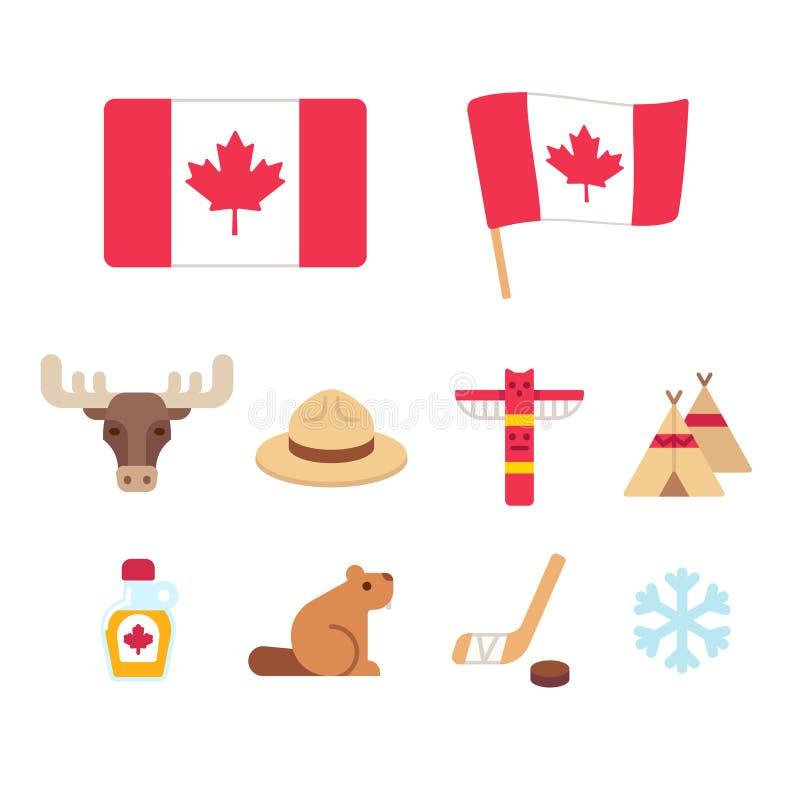 Iconos de la historieta de Canadá fijados ilustración del vector