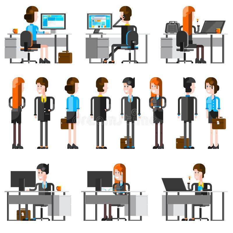 Iconos de la historieta de la gente de la oficina fijados ilustración del vector