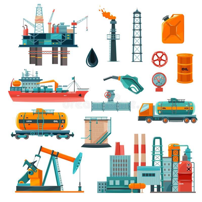 Iconos de la historieta de la industria de petróleo fijados stock de ilustración
