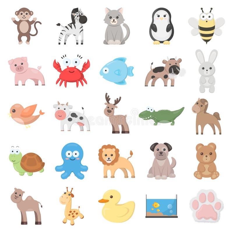 Iconos de la historieta del animal 25 fijados para el web libre illustration