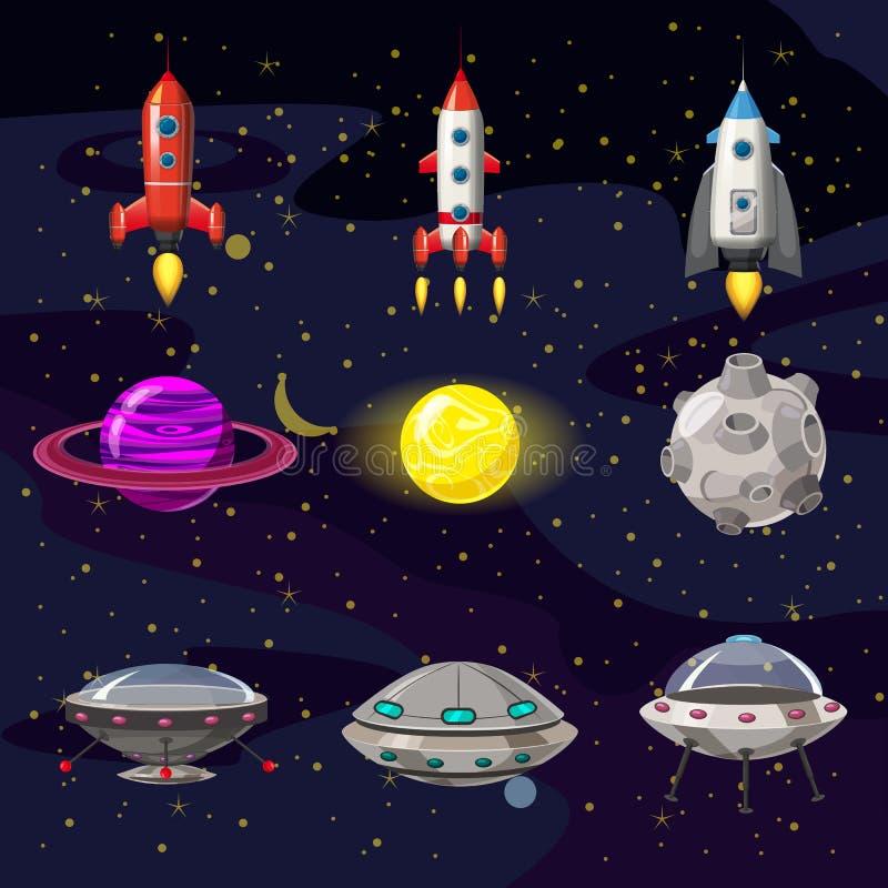 Iconos de la historieta del espacio fijados Planetas, cohetes, elementos del UFO en el fondo cósmico, vector, aislado, estilo de  ilustración del vector