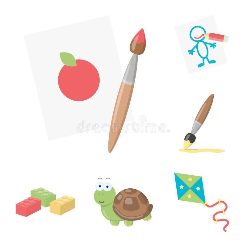 Iconos de la historieta del juguete del ` s de los niños en la colección del sistema para el diseño El juego y la chuchería vecto libre illustration