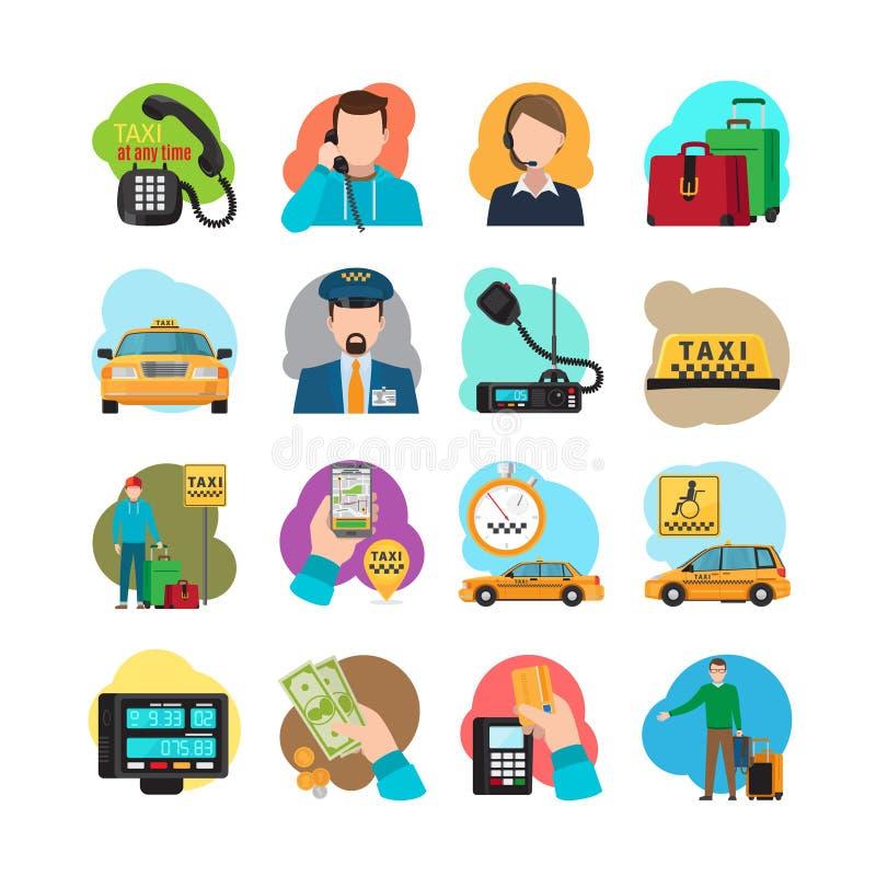 Iconos de la historieta del taxi fijados libre illustration