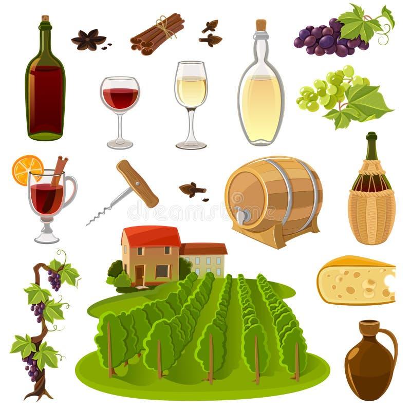 Iconos de la historieta del vino fijados libre illustration