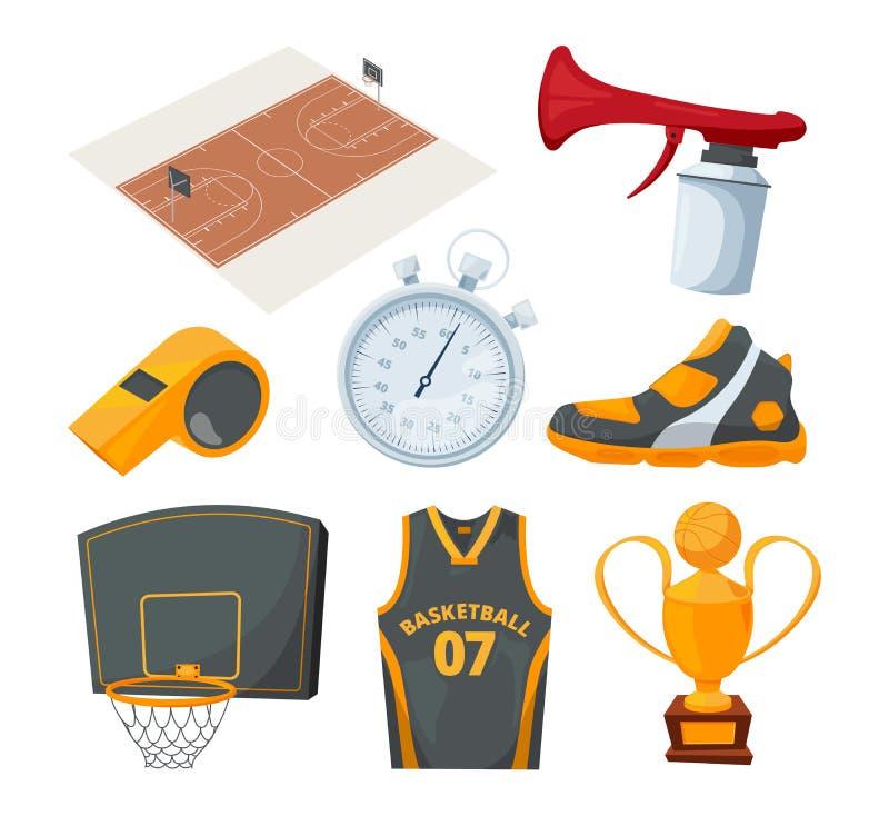 Iconos de la historieta fijados de diversos elementos del baloncesto libre illustration