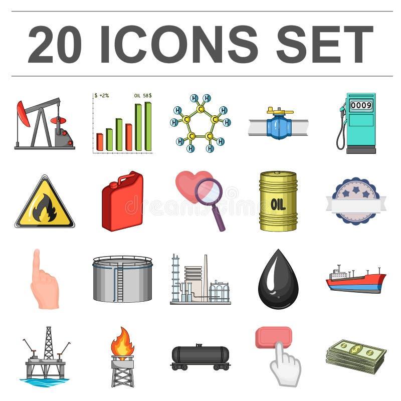 Iconos de la historieta de la industria de petróleo en la colección del sistema para el diseño La producción petrolífera del equi