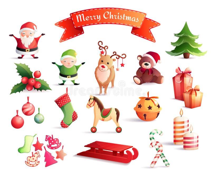 Iconos de la historieta de la Navidad fijados libre illustration