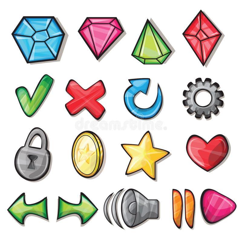 Iconos de la historieta para la interfaz de usuario del juego ilustración del vector