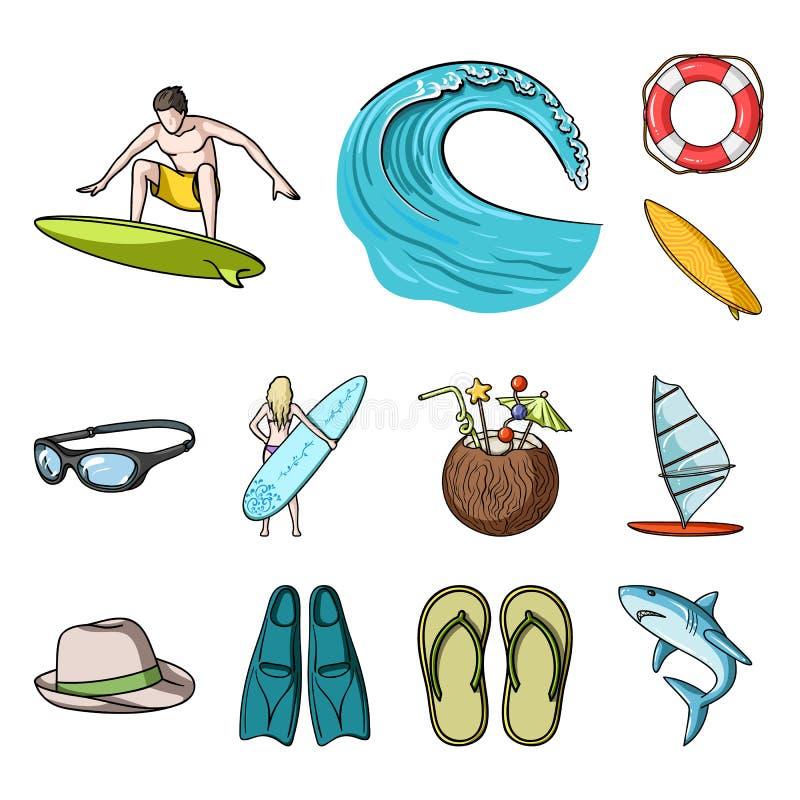 Iconos de la historieta que practican surf y extremos en la colección del sistema para el diseño Web de la acción del símbolo del ilustración del vector