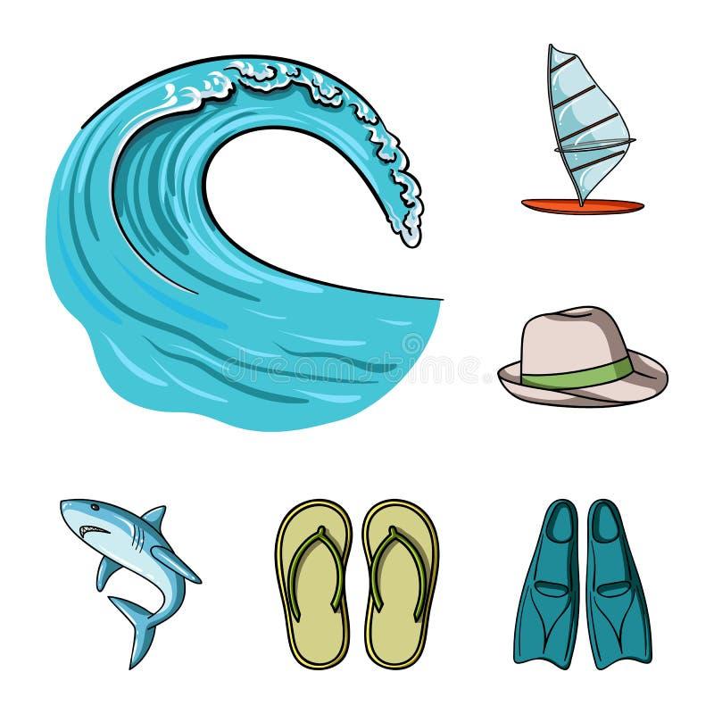Iconos de la historieta que practican surf y extremos en la colección del sistema para el diseño Web de la acción del símbolo del stock de ilustración