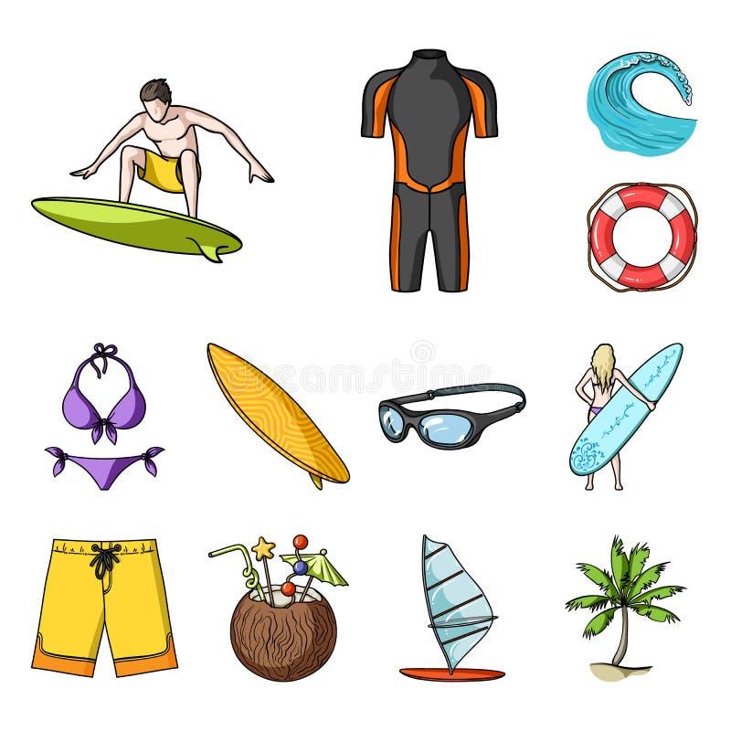 Iconos de la historieta que practican surf y extremos en la colección del sistema para el diseño Web de la acción del símbolo del libre illustration