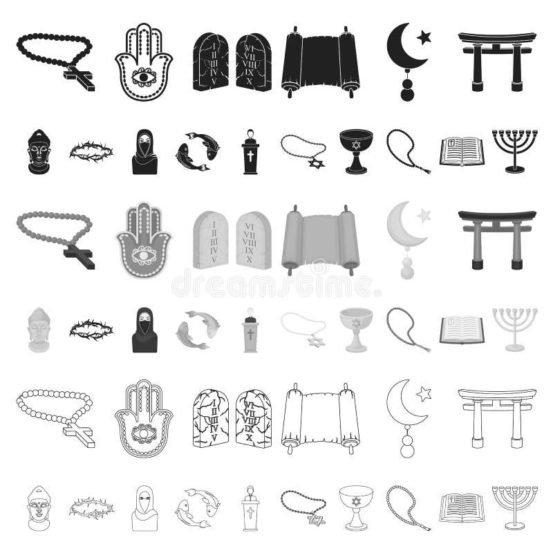 Iconos de la historieta de la religión y de la creencia en la colección del sistema para el diseño Accesorios, ejemplo del web de ilustración del vector