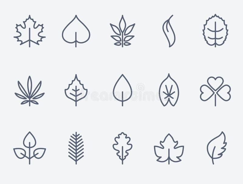 Iconos de la hoja ilustración del vector
