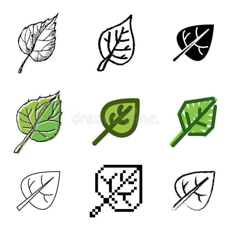 Iconos de la hoja fijados ilustración del vector