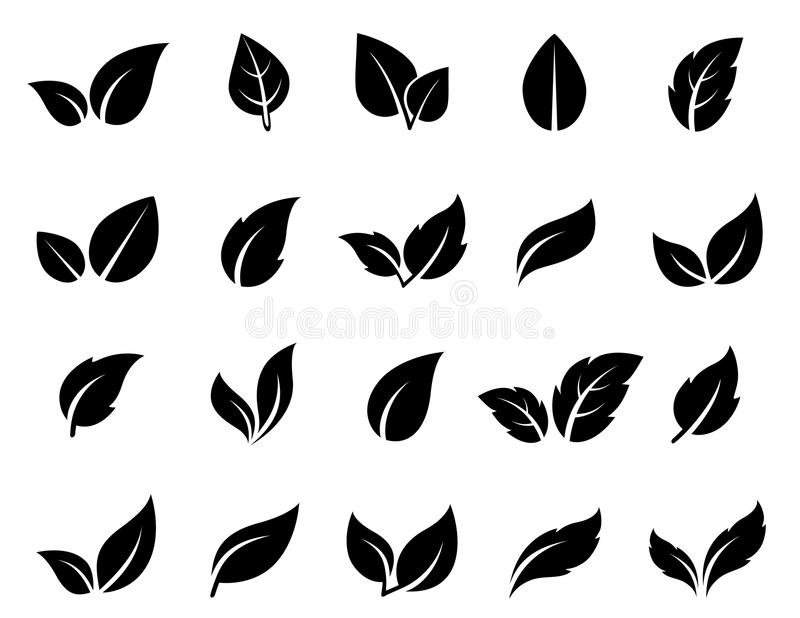 Iconos de la hoja fijados stock de ilustración