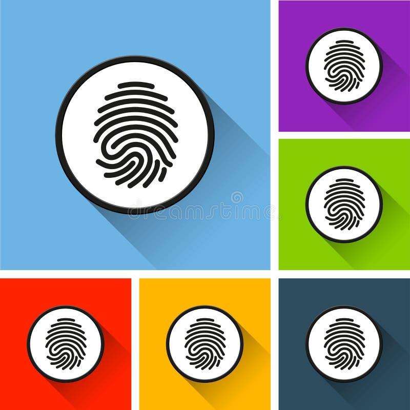 Iconos de la huella dactilar con la sombra larga ilustración del vector