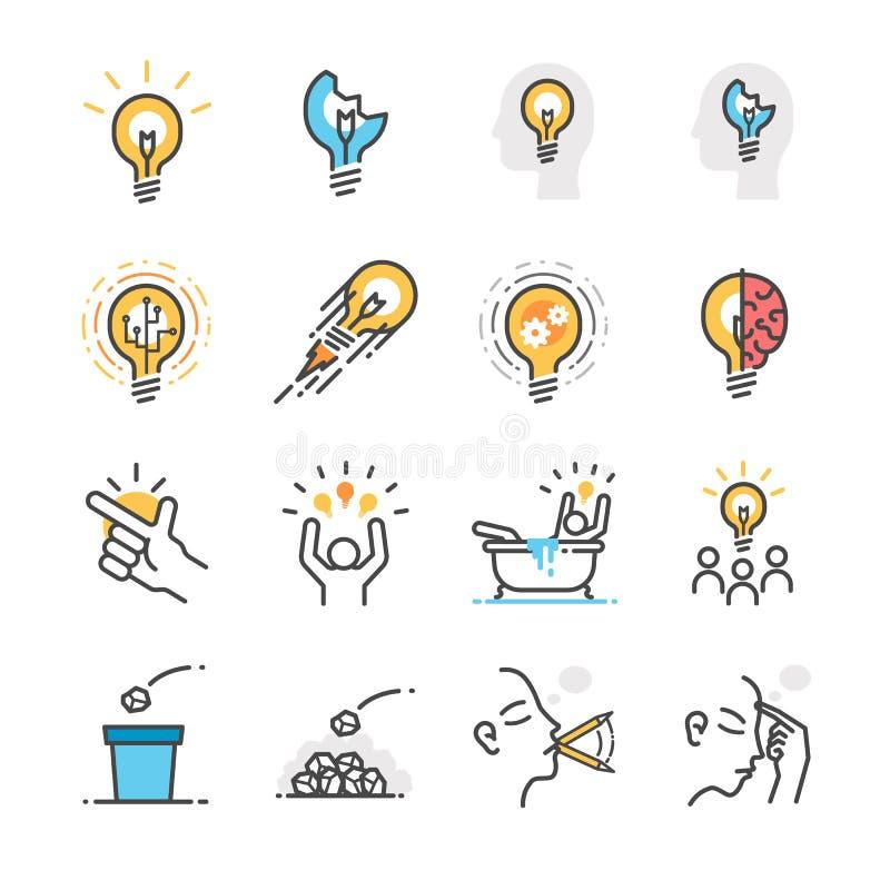 Iconos de la idea, creativos y del pensamiento fijados libre illustration