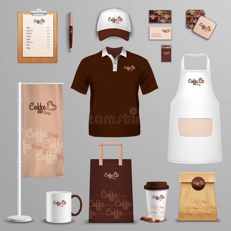 Iconos de la identidad corporativa del café del restaurante fijados stock de ilustración