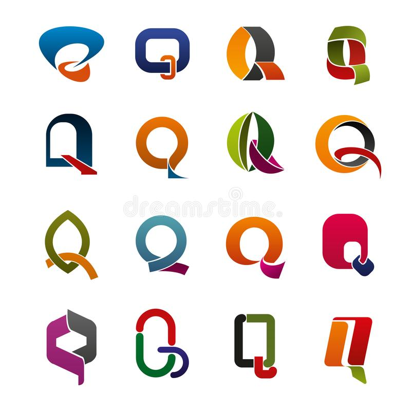 Iconos de la identidad corporativa de la letra Q stock de ilustración