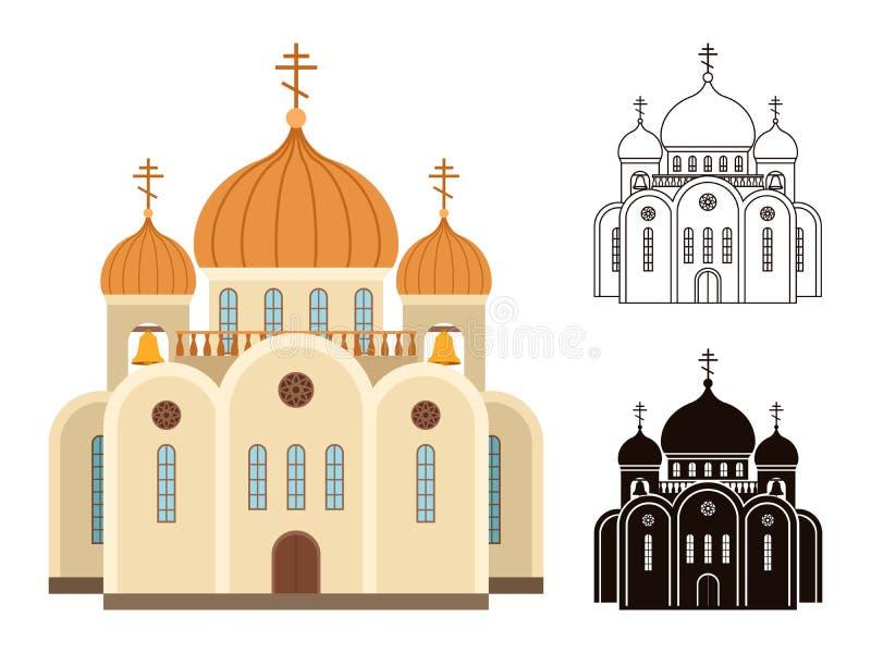 Iconos de la iglesia cristiana stock de ilustración