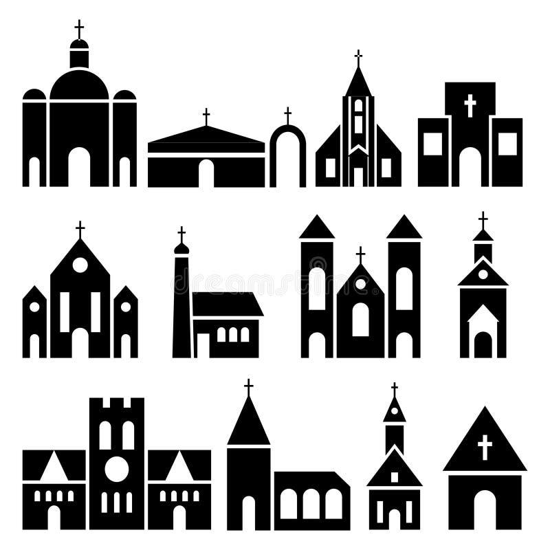 Iconos de la iglesia Siluetas de la basílica y de la capilla del vector stock de ilustración