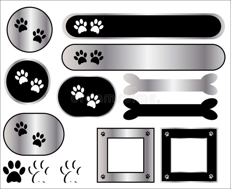 Iconos de la impresión de la pata stock de ilustración