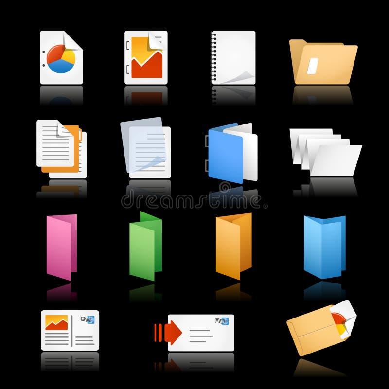 Iconos//de la impresión y de la oficina fondo negro