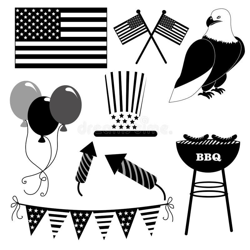 Iconos de la independencia ilustración del vector