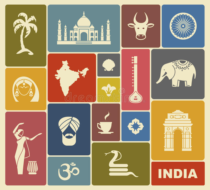 Iconos de la India stock de ilustración