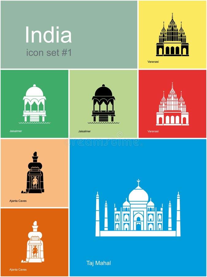 Iconos de la India stock de ilustración