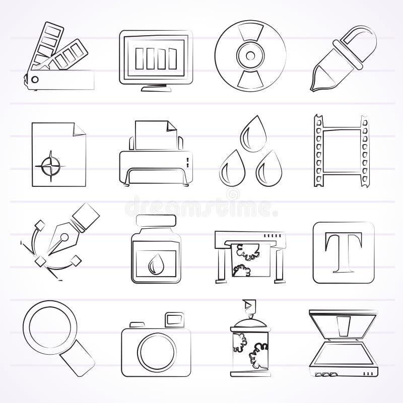 Iconos de la industria de la impresión y del diseño gráfico stock de ilustración