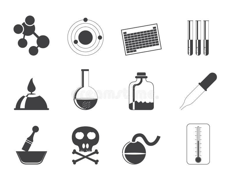 Iconos de la industria de la química de la silueta libre illustration