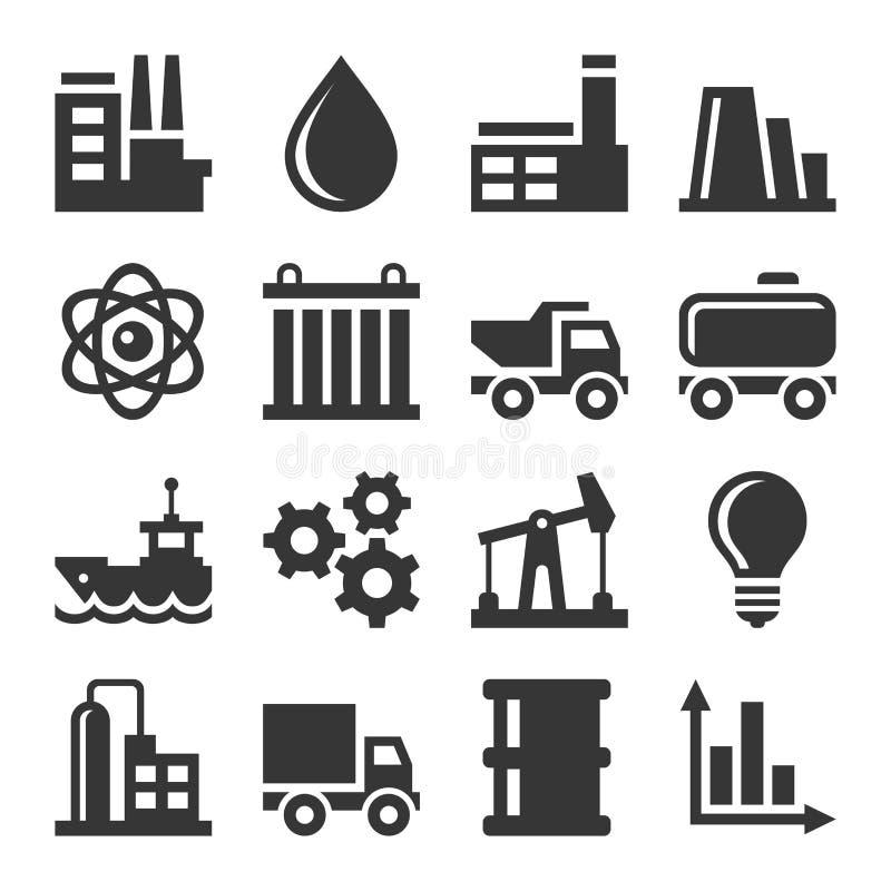 Iconos de la industria fijados stock de ilustración