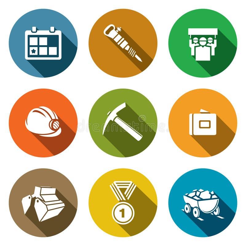 Iconos de la industria hullera fijados stock de ilustración