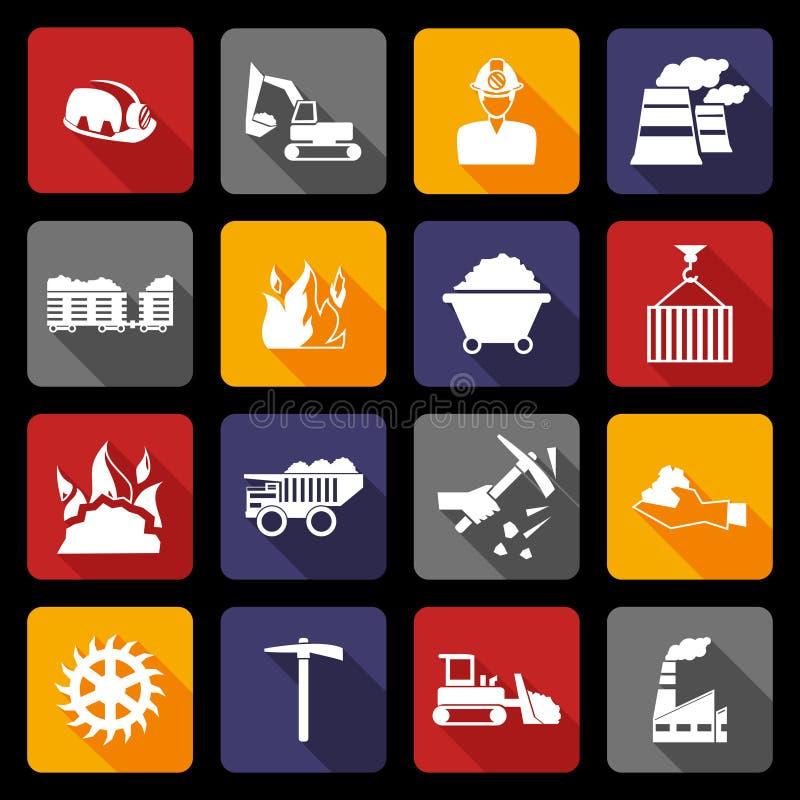 Iconos de la industria hullera planos libre illustration