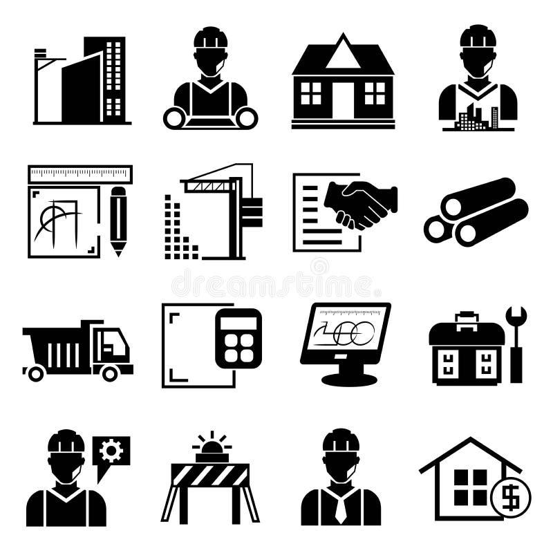 Iconos de la ingeniería y de la construcción stock de ilustración
