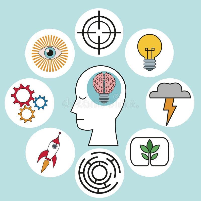 Iconos de la innovación de la creatividad del cerebro de la cabeza humana del perfil stock de ilustración