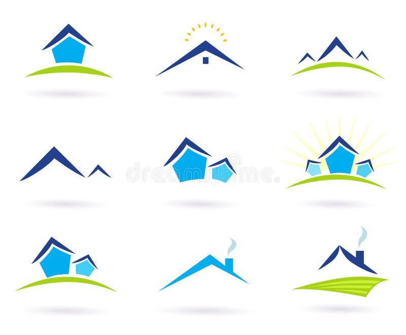 Iconos de la insignia de las propiedades inmobiliarias/de las casas aislados en blanco libre illustration