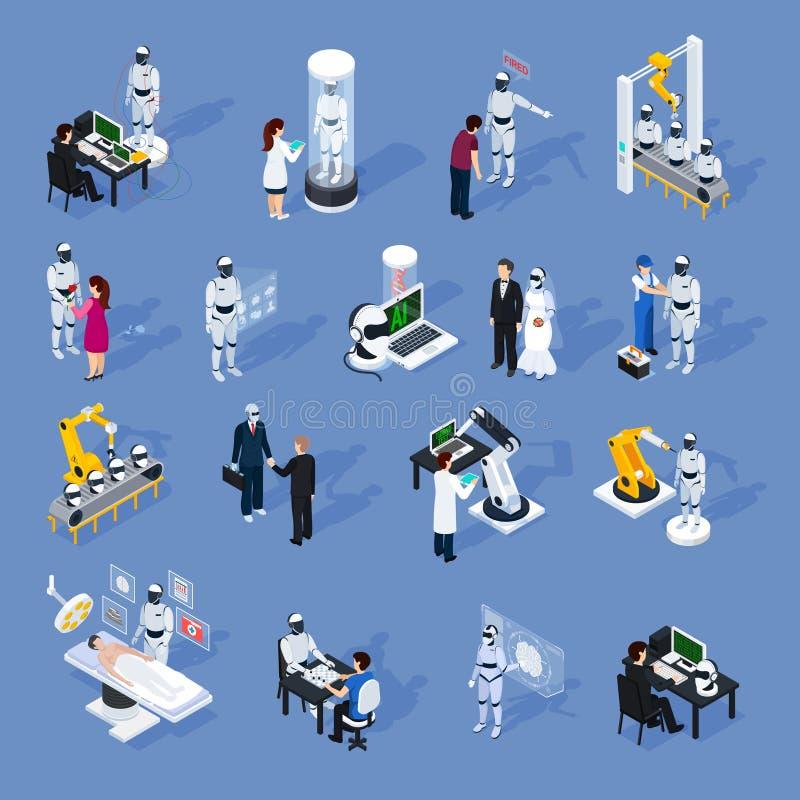Iconos de la inteligencia artificial fijados stock de ilustración