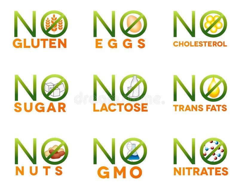 Iconos de la intolerancia de la comida stock de ilustración
