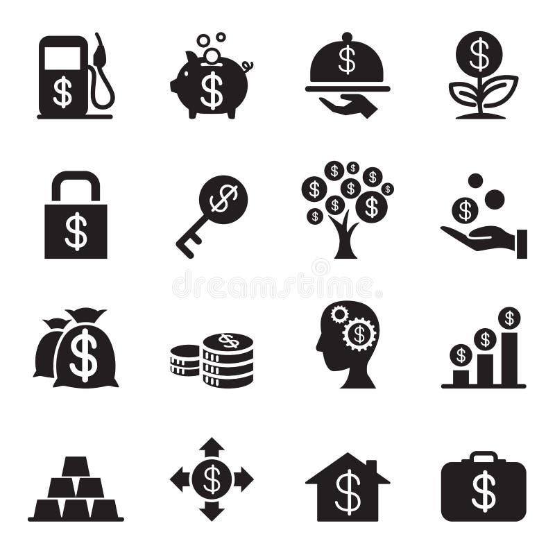 Iconos de la inversión financiera de la silueta fijados ilustración del vector