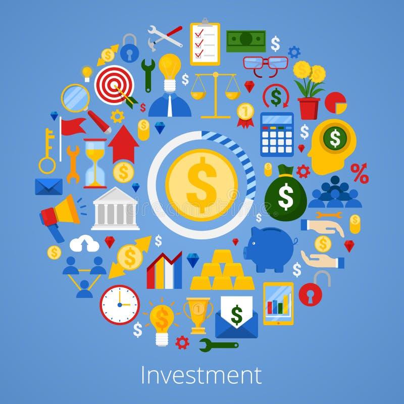 Iconos de la inversión financiera fijados stock de ilustración