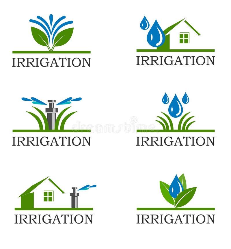 Iconos de la irrigación stock de ilustración