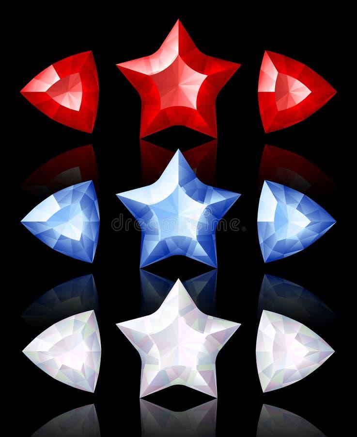 Iconos de la joyería de estrellas y de flechas stock de ilustración