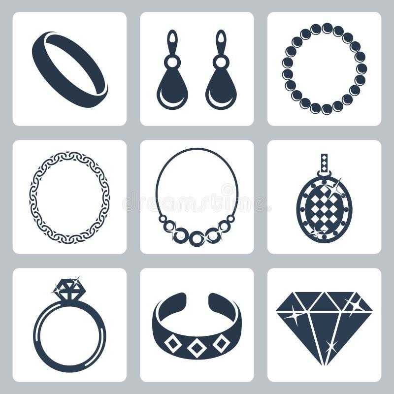 Iconos de la joyería del vector fijados stock de ilustración